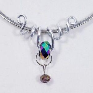 Aluminum Silver Spiral Pendant Purple Bead